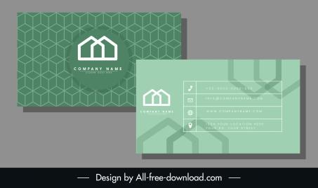 business card template abstract modern geometric green decor