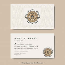 business card template adventure camping logo flat retro