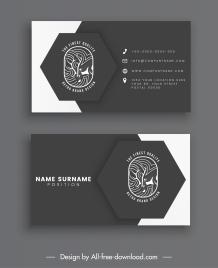 business card template black white decor reindeer logo