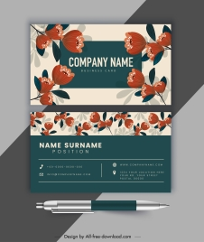 business card template blooming floral decor classical design