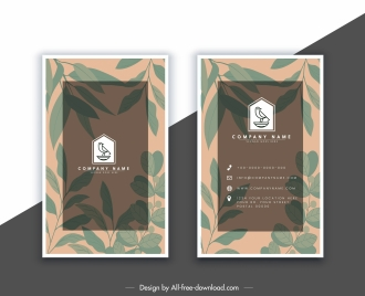 business card template blurred leaves decor vertical design