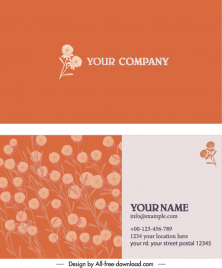 business card template botanical decor classic design