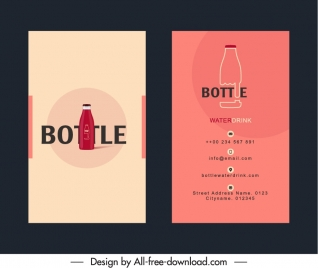 business card template bottle sketch flat classic design