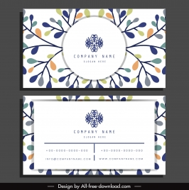 business card template bright colorful flat leaves sketch