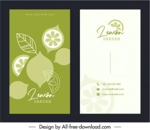 business card template bright flat classical lemon decor