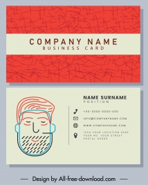 business card template classic handdrawn man face sketch