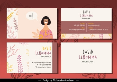 business card template classic leaves woman icon decor