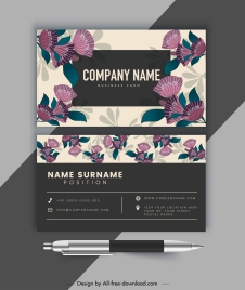 business card template classical floral decor