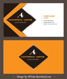 business card template colored elegant modern flat decor