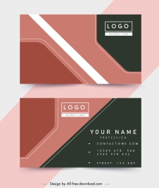 business card template colored flat technology decor