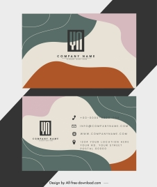 business card template colorful abstract curves decor