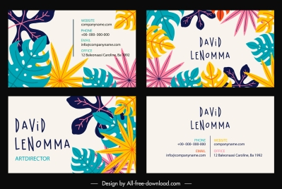 business card template colorful classical flat leaves decor