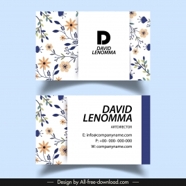business card template colorful flora decor flat sketch