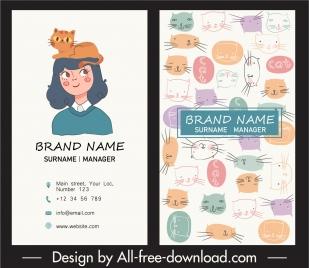 business card template cute handdrawn cats cartoon design