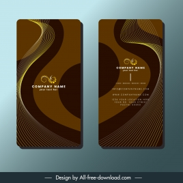 business card template dark brown dynamic curves decor
