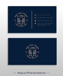 business card template dark eagle logotype decor
