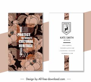 business card template dark elegant classical floral decor