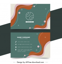 business card template dynamic colorful curves rounds decor