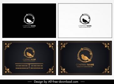business card template elegant bird sketch dark design