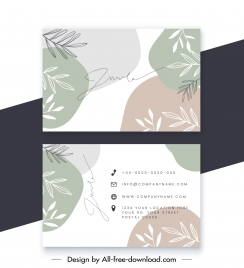 business card template elegant blurred handdrawn leaves decor