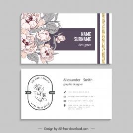 business card template elegant classical botanical decor