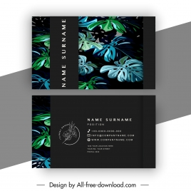 business card template elegant dark design leaves decor