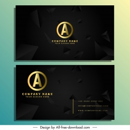 business card template elegant dark dynamic 3d pyramid