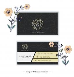 business card template elegant dark flat leaves sketch