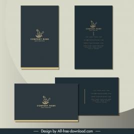 business card template elegant grey plain bird sketch