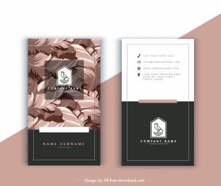 business card template elegant leaves decor