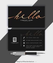 business card template elegant luxury dark black decor