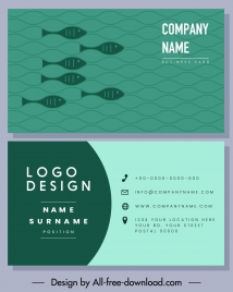 business card template flat fishes sketch green classic