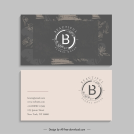 business card template grunge retro contrast leaf decor