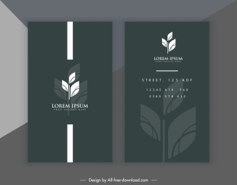 business card template leaf decor dark black white