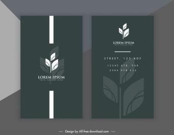 business card template leaf decor dark black white