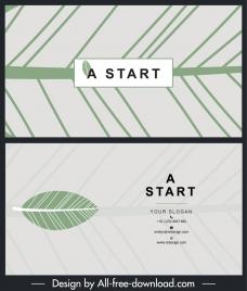 business card template leaf pattern decor flat design