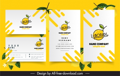 business card template lemonade logotype flat handdrawn sketch