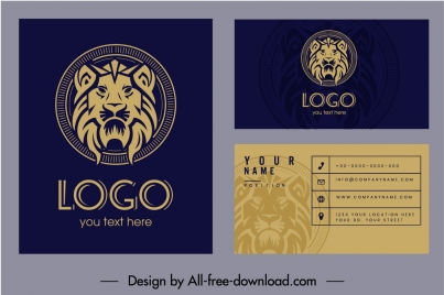 business card template lion logotype decor classic design