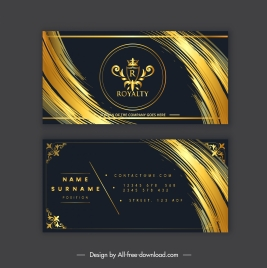 business card template luxury black golden royal decor