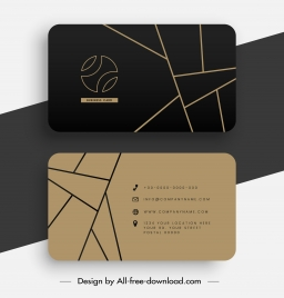 business card template luxury dark abstract flat lines