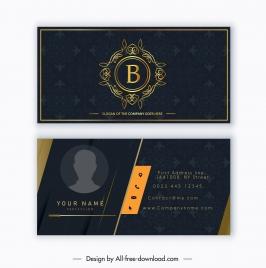 business card template luxury dark classic decor