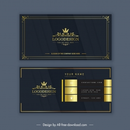 business card template luxury dark golden black crown