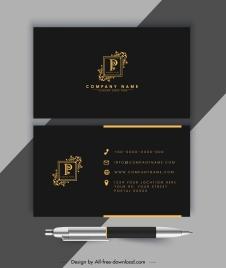 business card template luxury golden black royal design