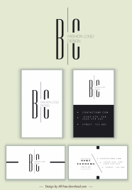 business card template modern black white plain design