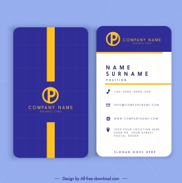 business card template modern blue white vertical decor