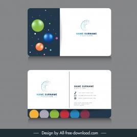 business card template modern colorful shiny circles decor