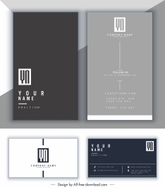 business card template modern dark bright plain decor