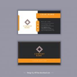 business card template modern elegant dark white decor