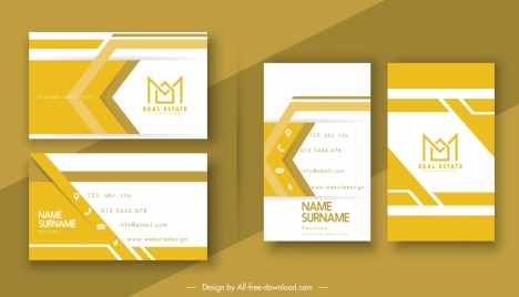 business card template modern flat bright yellow white