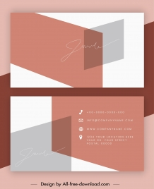 business card template modern geometric sketch signature decor